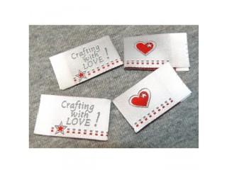 Saumamerkki Crafting with love hopea (4kpl)