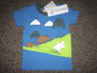 Finnwear Muumi ja sarvikuonot lyhythihainen paita sininen